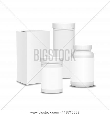 Blank set of plastic packaging bottles with box for pills,  Vitamins or Capsules