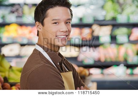 Portrait of a supermarket sales assistant