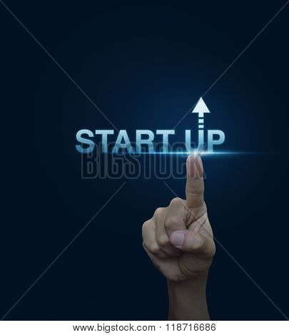 Hand Click On Start Up Icon Over Blue Background, Start Up Business Concept