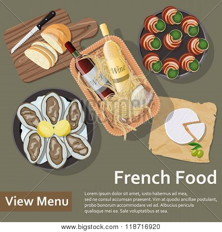 French food. Flat Lay Style Illustration.