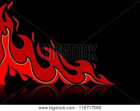 Tattoo fire card with reflection
