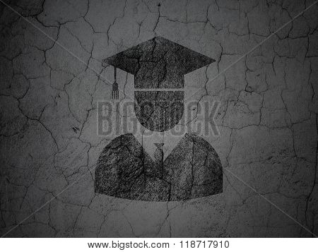 Science concept: Student on grunge wall background