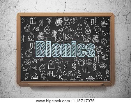 Science concept: Bionics on School Board background