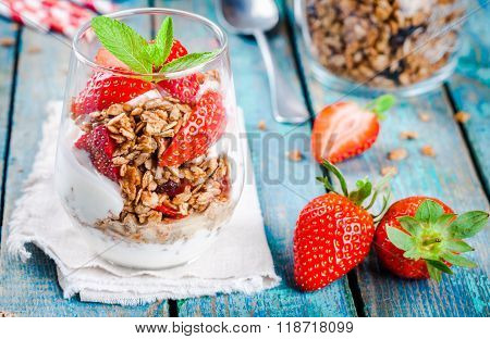 Homemade Granola Parfait With Strawberry And Mint.