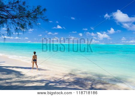 Walking On White Beach Under Palm Shadow, Rarotonga, Cook Islands