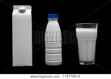 Milk Plastic Bottle, Box And Glass Of Milk