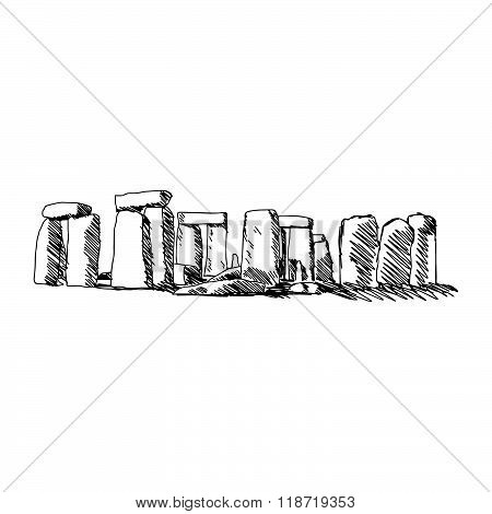 Illustration Vector Doodle Hand Drawn Of Sketch Stonehenge Isolated On White Background.