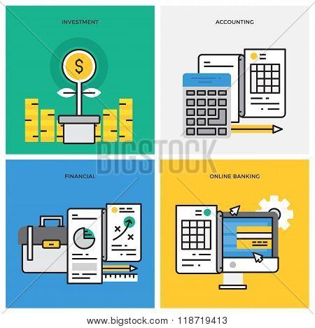 Flat line design vector illustration concept of Investment, Accounting, Financial, Online Banking, B