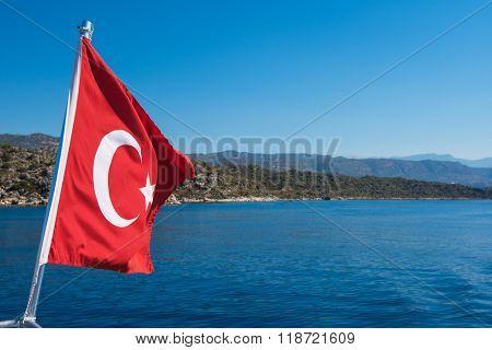 Turkish Flag from yacht, Turkey