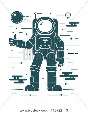 Astronaut landing planet vector illustration in negative space style. Space exploration concept