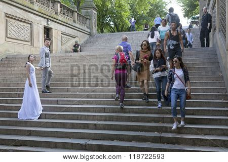 Wedding Couple And Many People On Steps Of Bethesda Arcade In New York City Central Park