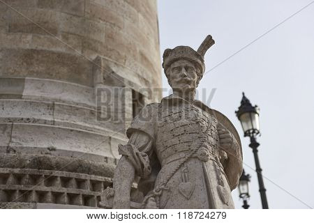 BUDAPEST, HUNGARY - FEBRUARY 02: Detail of stone soldier statue in one of the spires at Fisherman's Bastion, in the Old Town district. February 02, 2016 in Budapest.