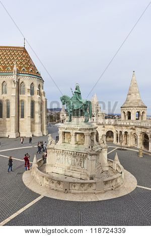 BUDAPEST, HUNGARY - FEBRUARY 02: High angle shot of Fisherman's Bastion, with bronze statue of Saint Stephen, in the Old Town district. February 02, 2016 in Budapest.