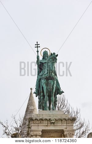 BUDAPEST, HUNGARY - FEBRUARY 02: Bronze statue of Saint Stephen in the Old Town district. February 02, 2016 in Budapest.
