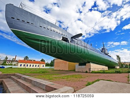Russian diesel submarine Narodovolets outdoor public monument of navy