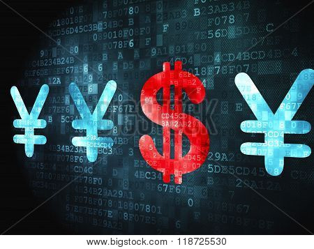 Banking concept: Dollar And Yen on digital background