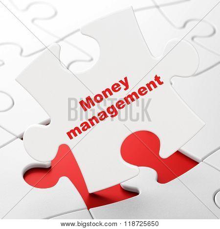 Money concept: Money Management on puzzle background