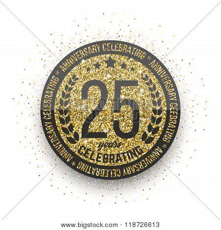 Twenty five years anniversary celebration logotype. 25th anniversary logo.
