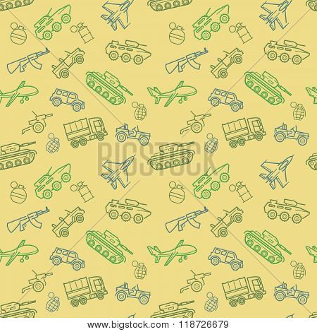Vector Military Seamless Pattern With Transport And Weapon