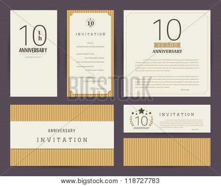 10th anniversary invitation cards template. Vector illustration.