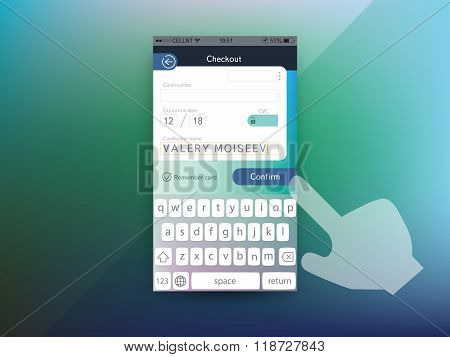 Vector Credit Card Checkout Screen Template For Smartphone User