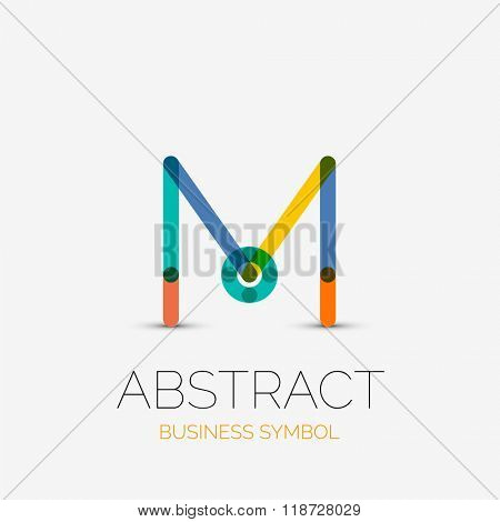 Minimalistic linear business icons, logos, made of multicolored line segments. Universal symbols for any concept or idea. Futuristic hi-tech, technology element set