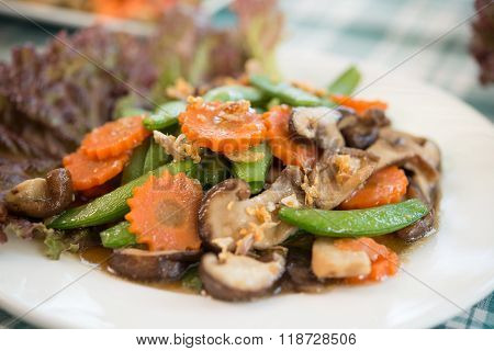 Fried Mushrooms Non-toxic With Vegetables organic