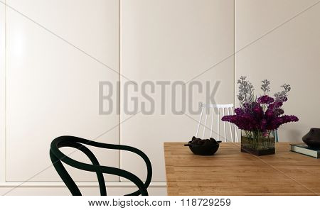 Decorative Chair Beside Wooden Table with Flower Vase and Other Objects in Modern Room with Plain White Walls and Copy Space - Interior of Modern Dining Room. 3d Rendering.