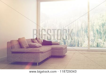 Comfortable Sectional Sofa with Cushions in Empty Spacious Living Room with Large Sunny Window and View Overlooking Lush Forest Shrouded with Fog on Sunny Day. 3d Rendering.