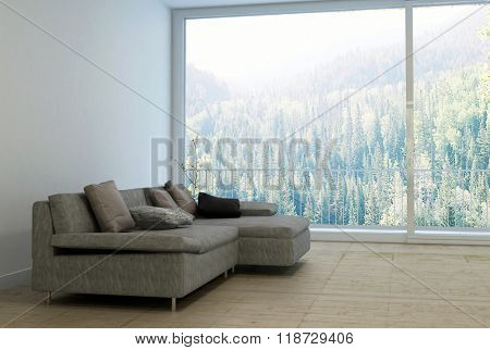 Comfortable Sectional Sofa with Cushions in Empty Spacious Living Room with Large Window and View Overlooking Lush Forest Shrouded with Fog on Sunny Day. 3d Rendering.