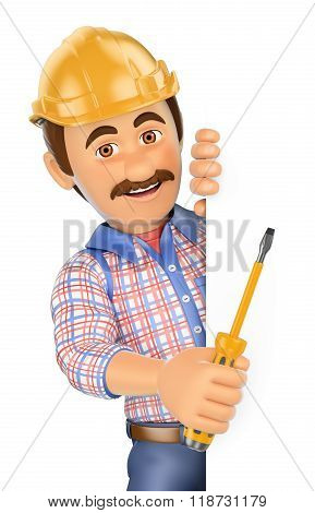 3D Electrician With A Screwdriver Pointing Aside. Blank Space
