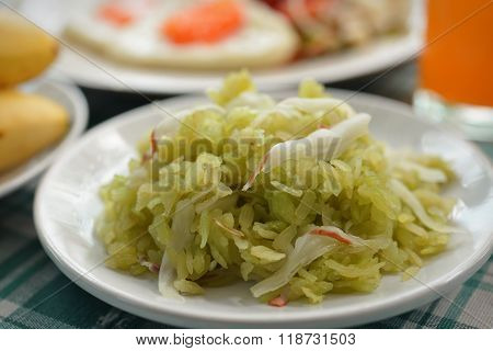 Shredded Rice Grain With Coconut Flesh And Banana Thaifood