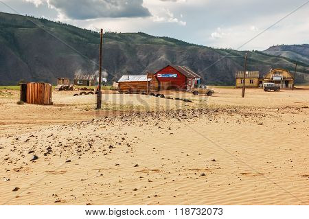 Isolated Houses On Sand, Northern Mongolia
