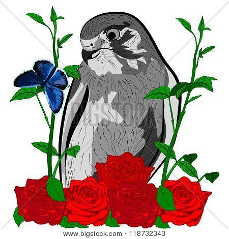 bird roses and blue butterfly