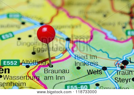 Braunau am Inn pinned on a map of Austria