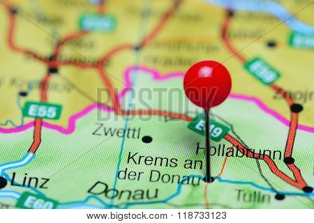 Krems an der Donau pinned on a map of Austria