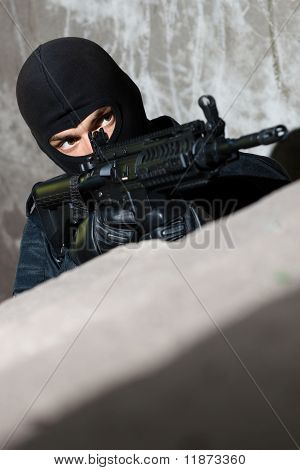 Armed Terrorist Aiming The Target