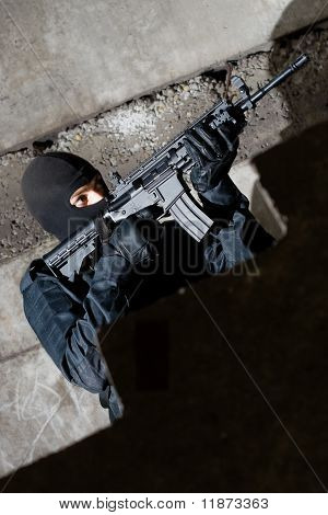 Terrorist With A Rifle Targeting