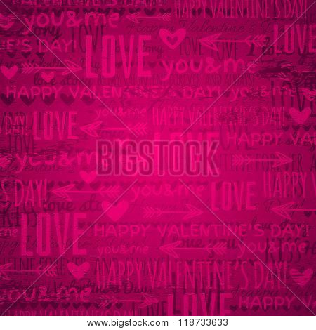 Pink Background With  Valentine Hearts And Text,  Vector