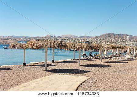 Eilat Israel - February 11 2016: Beach in Eilat - a recreation city in Israel