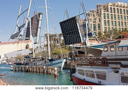 Eilat Israel - February 13 2016: The Bridge is open while the ship passing away in Eilat - a recreation city in Israel