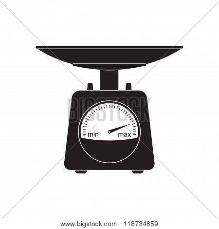Weighing scales icon with pan and dial. Domestic weight scale black silhouette. Vector illustration.