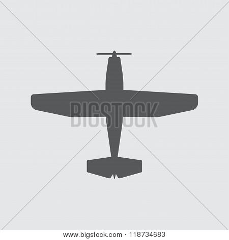 Plane icon with screw. Vector airplane silhouette.
