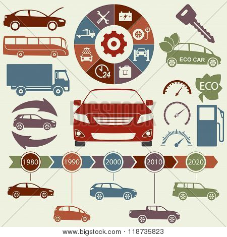 Car and auto service Infographics elements. Transportation icons and symbols. Vector illustration.