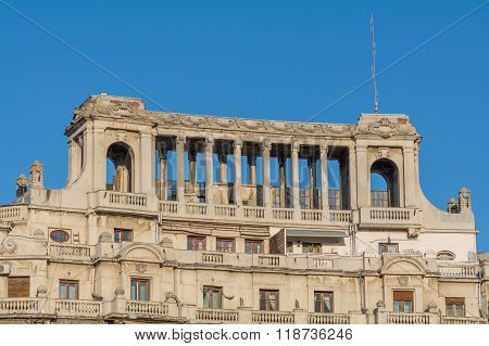 Bucharest, Romania - January 10: Part Of Old Building On January 10, 2016 In Bucharest. Building, Bl