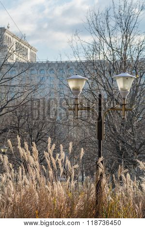 Bucharest Parliament Building With Public Lamp In Front In Winter. Vertical Winter View With Part Of