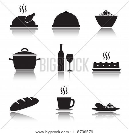 Kitchen and cooking icon set. Food and drink icons isolated on white background. Vector illustration