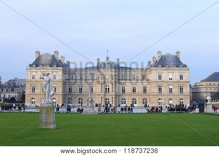 Paris; France; February 6; 2016: Palace in Luxembourg park in a center of Paris, France