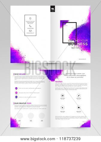 Creative abstract Brochure, Template or Flyer design with front and back page presentation for your Business.