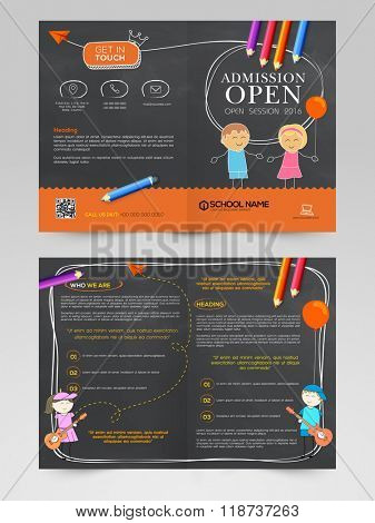 Back to School concept, Creative Brochure, Template or Flyer design with front and back page view.